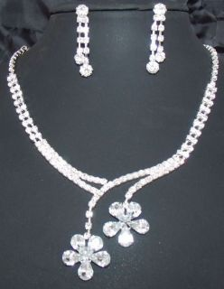 Bridal Bridesmaid Flower drop crystal necklace earring Jewelry set 396
