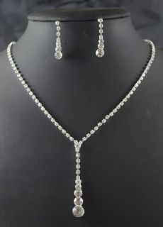 Bridal Teardrop Pageant Prom crystal necklace earring Jewelry set 405
