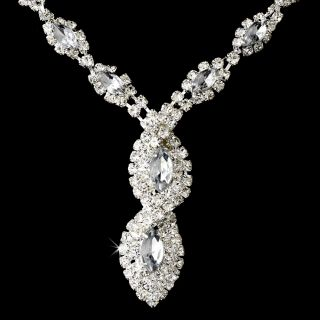 Beautiful Bridal Jewelry Set Clear Silver Rhinestone Spiral Necklace