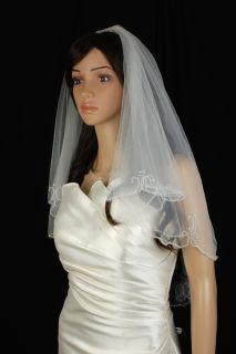 Bridal Veil Wedding 2 Tier Ivory Elbow Length Crystal Beaded Scalloped