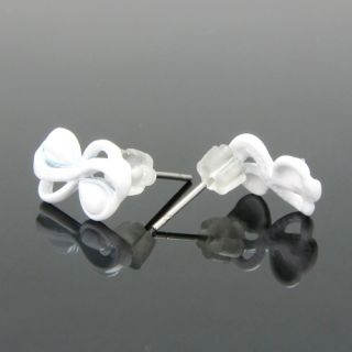 Adorable White Ribbon Quality Painting Crystal Earrings