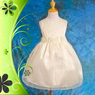 Ivory Wedding Flower Girl Bridesmaid Party Dress Size 7