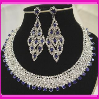 Bridal Bridesmaids Diamante Blue Crystal Necklace Earrings Jewelry Set