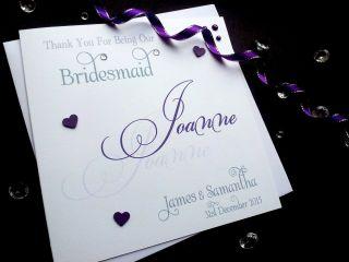 Thankyou Card Wedding Best Man Usher Bridesmaid Flower Girl