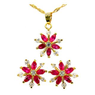 Wedding Jewelry Set Jewellery Snowflake Cut Red Ruby Pendant Earrings