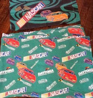 Nascar Twin Sheet Flat Pillowcase Green Race Cars Flag Daytona Bristol
