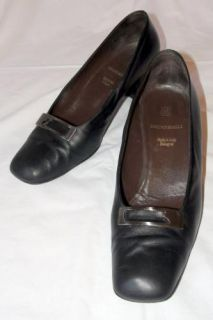 Classic Bruno Magli Leather High Heel Pumps Black Womens Shoes US 8 5