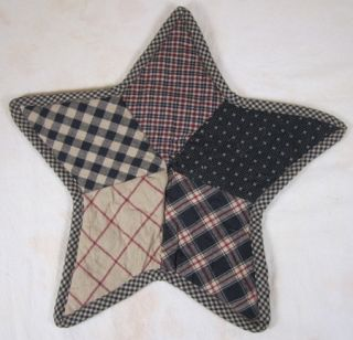 Country Red Black Tan Plaid Check Bingham Star Table Mat 13 In