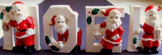 RELCO Vintage Christmas Ceramic NOEL SANTAS Letter Candle Holders HTF