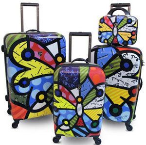 Britto by Heys USA Butterfly 4 Piece Spinner Luggage Set 12 22 26