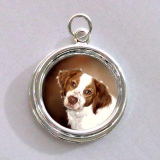 Brittany Spaniel Dog Silver Charm Pendant