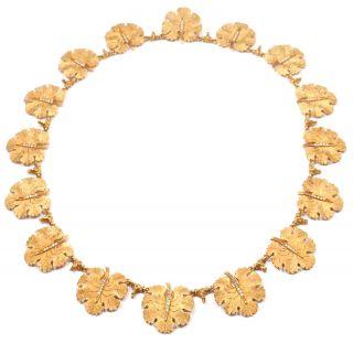 RARE AUTHENTIC BUCCELLATI 18K YELLOW GOLD DIAMOND GERANIUM LEAF