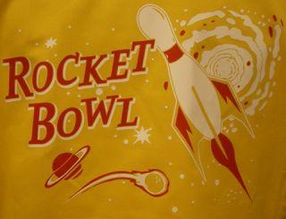 Gold Blk Retro Bowling Shirt Rocket Bowl Kitschy Cool