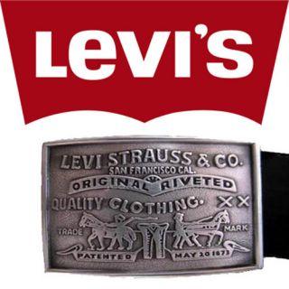 Levis Mens Square Silver Buckle Black Leather Belt 0253