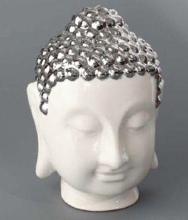 Figura Buda Cabeza Buddha Figure Resina Plateado Blanco 18x18x27 cm