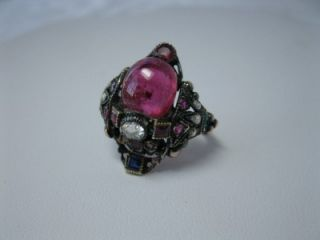Austro Hungarian Rubellite Tourmaline Diamonds Sapphire Emerald Rubies