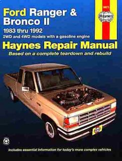 Ford Ranger Bronco II Repair Shop Manual 1983 1984 1985 1986 1987 1988