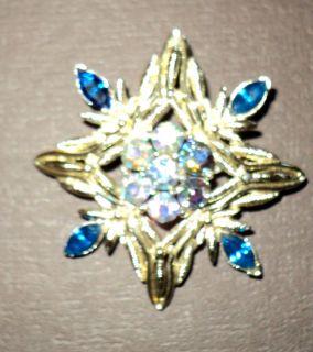 Aurora Borealis RHINESTONE Leaf Brooch Pin W BLUE MARQUISE RHINESTONES