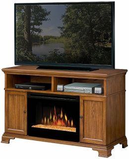 Dimplex Brookings Electric Fireplace, Dark Oak With Glass Ember Fire