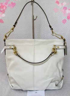 Coach Brooke White Leather Brass Hobo Shoulder Bag Purse Tote 17165