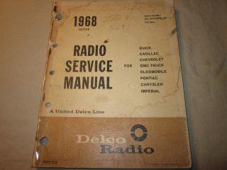 1968 Buick Cadillac Chevy Corvette Impala GTO Olds 442 Radio Manual GM