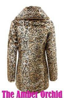 New Ladies Womens Leopard Animal Print Soft Faux Fur Jacket Coat Sizes
