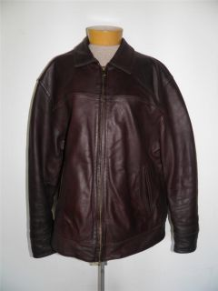 Chaps Ralph Lauren Brown Leather Motorcycle Coat Jacket Sz XL