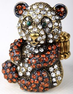 Brown clear crystal panda stretch ring jewelry buy 10 items free