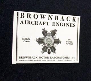 Brownback Aircraft Engines Model C 400 1929 Print Ad