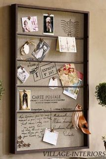 Burlap Bulletin Cork Board Wall Memo Organizer Book Rack Fl de Lis