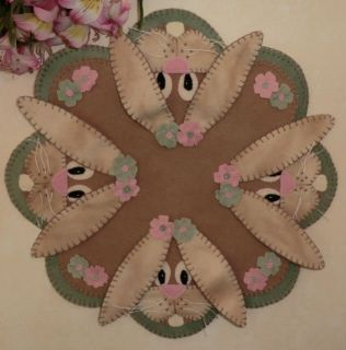 Bunnies in Spring Wool Penny Rug Candle Mat Pattern