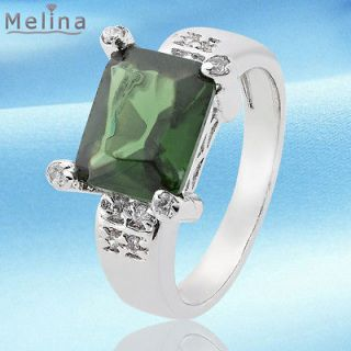 Green Emerald White Gold Plated 18KSlim Ring Solitaire Concisse 7/O