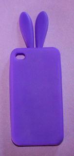 Purple Rabbit Bunny Ear Soft Silicone Rubber Gummy Case Cover