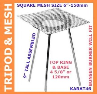 Tripod with Mesh 9 Heating Stand Fits Bunsen Burner