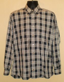 Burberry London 100 Cotton Plaid Dress Shirt Size M Navy Blue White