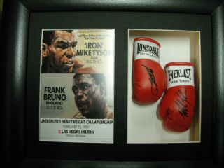 Mike Tyson Frank Bruno Mini Signed Boxing Gloves Framed