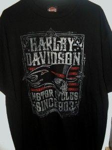 Mens Harley Davidson Black Skull Poster Hat Flames Short Sleeve T
