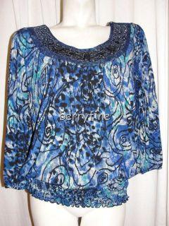 BFS10 DRESS BARN Plus Size 1X Green Blue Beaded Neck Smocked Waist