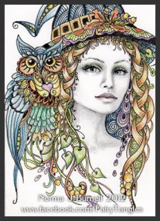 Original ACEO Art Sketch Card Witch & Owl Halloween Witches OWLS Fairy