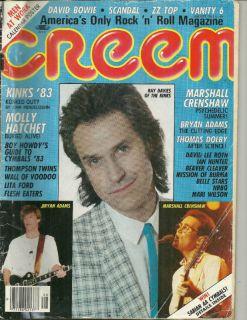 Aug 1983 Creem Magazine The Kinks Bryan Adams