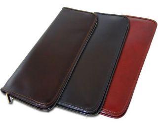 Pratesi Calf Leather Travel Hanging Tie Case Black Brown Dark Brown
