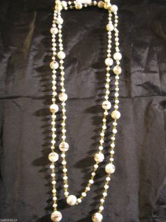Extra Long 53 White Vintage Flapper Venetian Glass Beaded Necklace