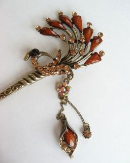 Vary Colors Swarovski Crystal Bronze Bird Dangle Hair Stick Pin Pick