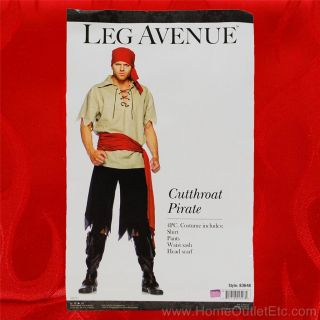 Mens 4 PC Cutthroat Pirate Buccaneer Bandit Leg Avenue 83648 Adult