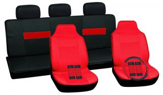 Full Sports Car Seat Cover Solid Red Integrated Bucket Black Red Back