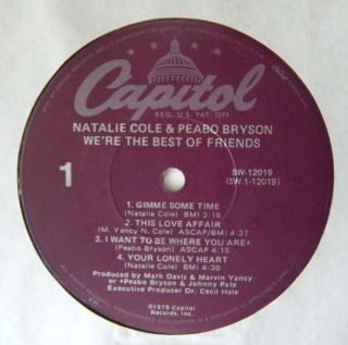 PEABO BRYSON NATALIE COLE WERE THE BEST OF FRIENDS CAPITOL PROMO VINYL
