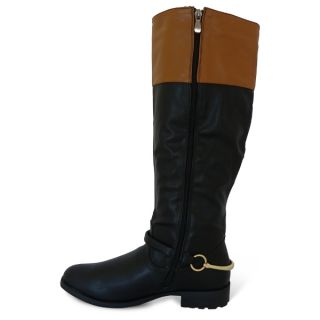 Womens New Riding Gold Buckle Stirrup Detail Ladies Leather Look Boots