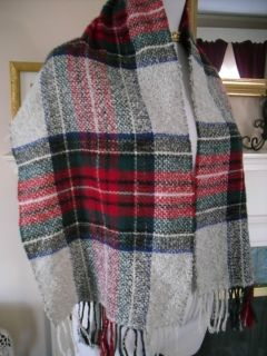 COTIERA CLASSIC PLAID RED WHITE BLUE BLACK GREEN COTTON W CASHMERE