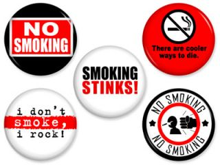 No Smoking Pins Anti Drug Quit Motivational Sign Pinback Button