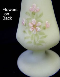 Fenton Satin Custard Bud Vase Hand Painted by Susan Lee